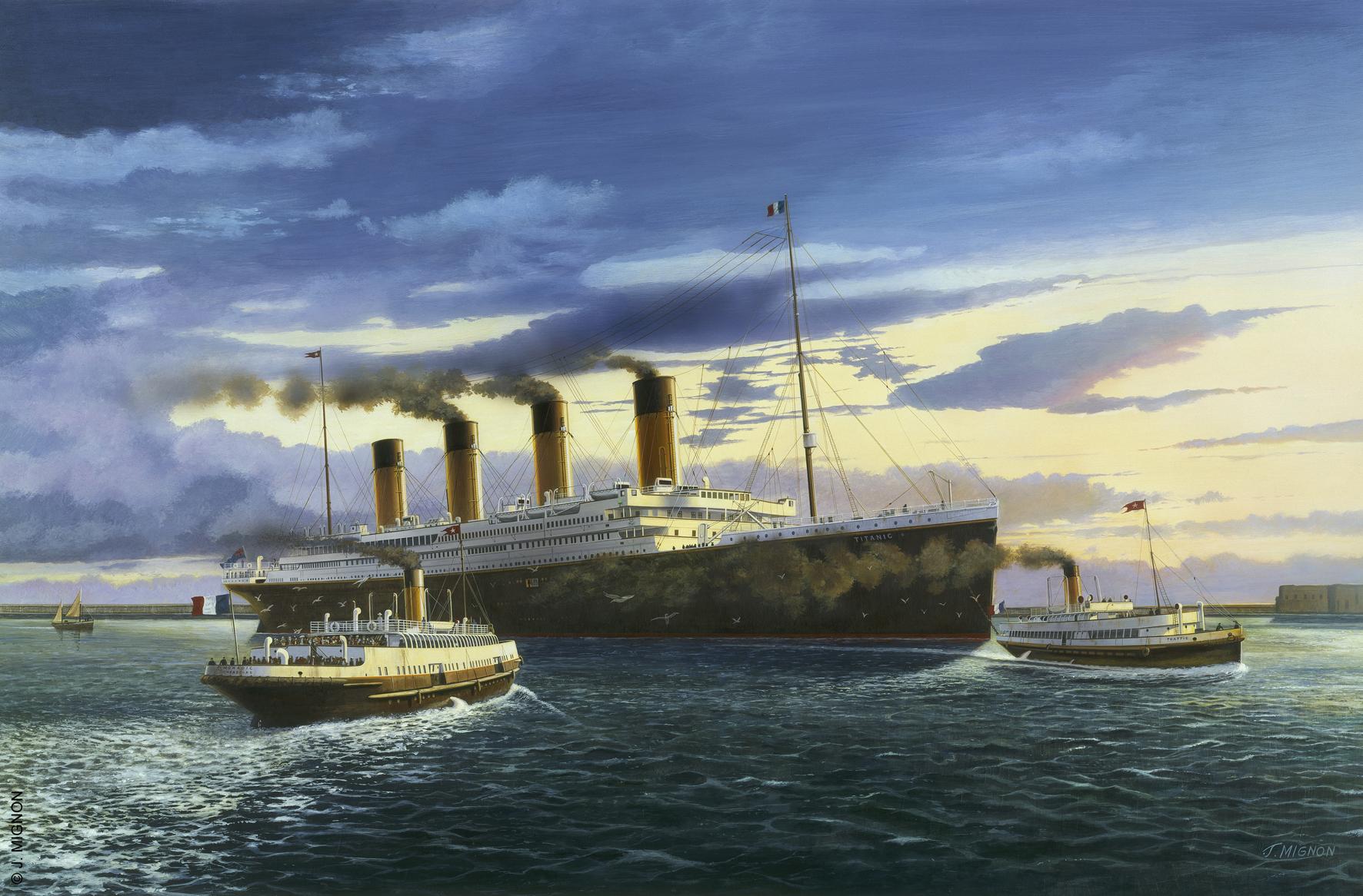 Peinture du Titanic en rade de Cherbourg, par Jacques Mignon